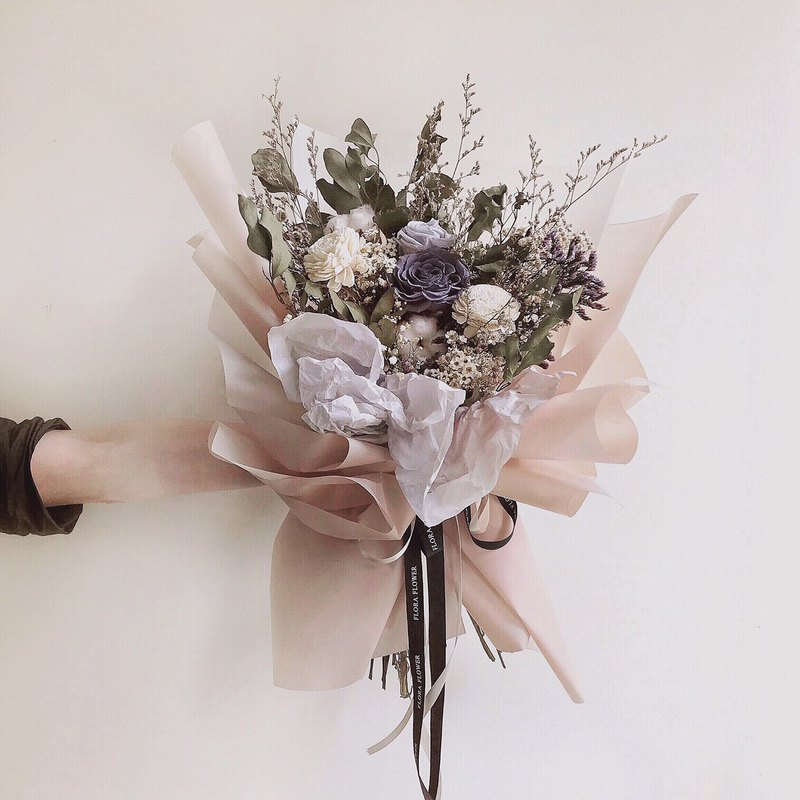 FloraFlower Immortal Bouquet (L) Eternal Flower Dry Flower Marriage Bouquet