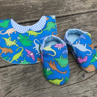 Dinosaur toddler shoes + bib - blue