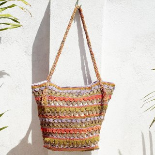 Valentine's Day hand-woven cotton thread hook-side backpack / shoulder bag / hand bag / oblique bag / woven bag / hook bag / linen bag / shopping bag - summer original cotton and linen striped woven bag