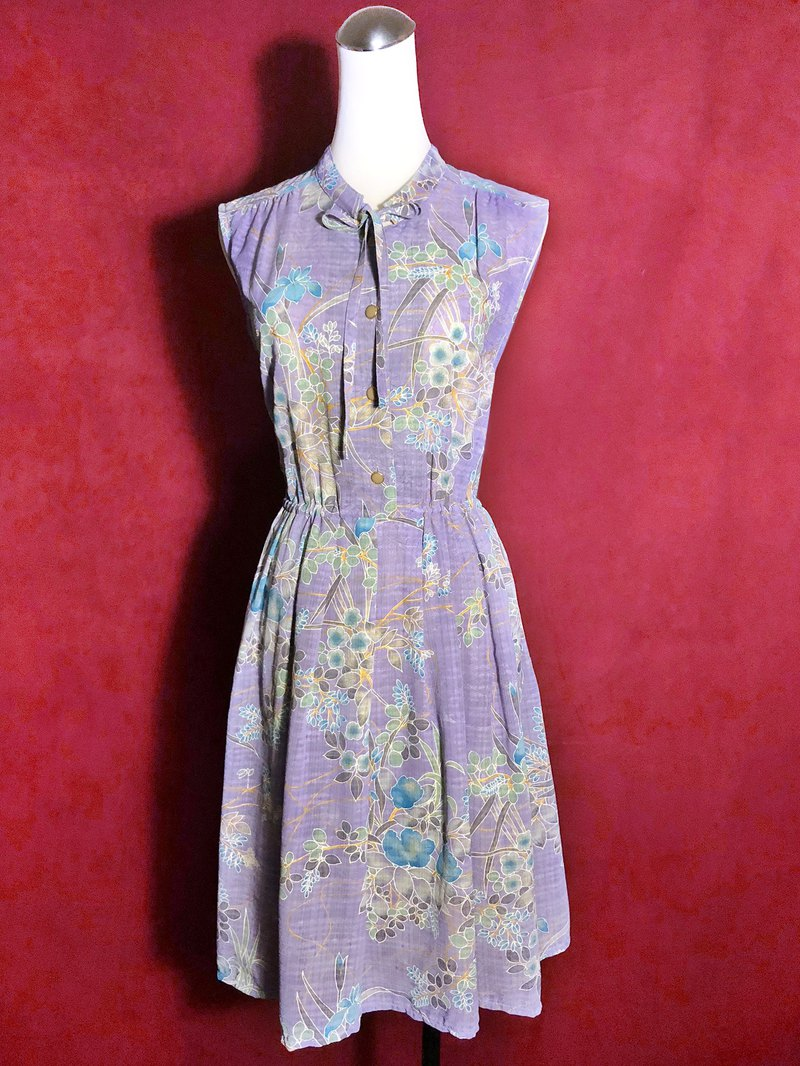 Purple flower textured sleeveless vintage dress / brought back to VINTAGE abroad