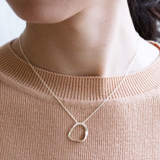 Simple sterling silver bezel necklace Ripple Necklace