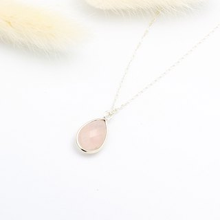 Large Rose Quartz Crystal Raindrop s925 sterling silver necklace