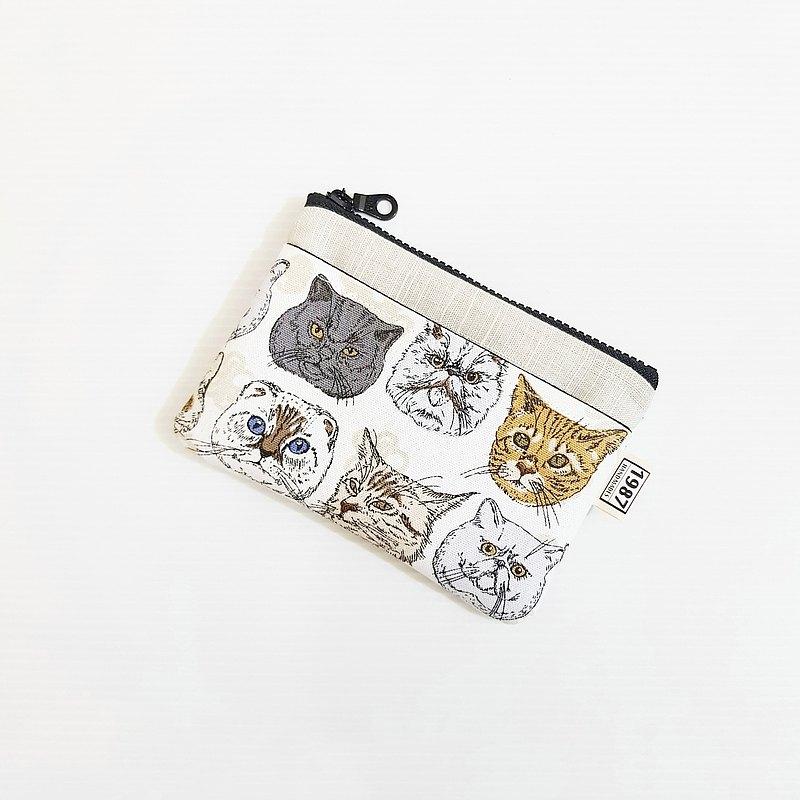 【皇上駕到(白)-淺灰】 貓系!!! 零錢包 手拿包 隨身包 拉鏈袋 聖誕禮物