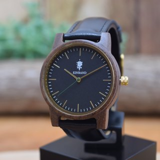 EINBAND Glanz BLACK 36mm Wooden Watch Black Leather Belt