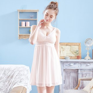 Rimless pajamas [exclusive 2in1] flower wedding bridal hollow lace chiffon dress - powder