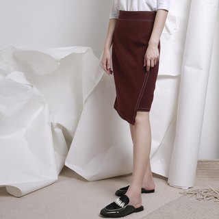 komorebi wood leakage Day original design autumn and winter irregular design skirt red wine