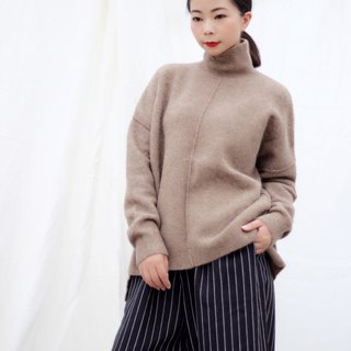 [Spot] high collar khaki wool sweater