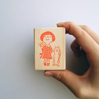 Hand made Stamp __ a girl and a cat