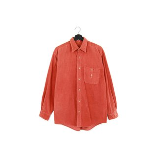 Back to Green :: corduroy peach shirt // both men and women wear // vintage (SH-04)