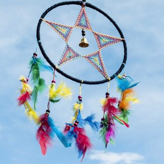 Ethnic style boho hand-woven cotton and linen dream catcher dream Cather-rainbow star bell