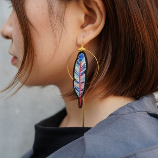 Embroidered cute feather personality exaggerated earrings ear clip