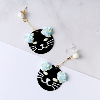 Kitty Cat Foral Drop Earring/ Ear Clip Black ver. =Flower Piping=