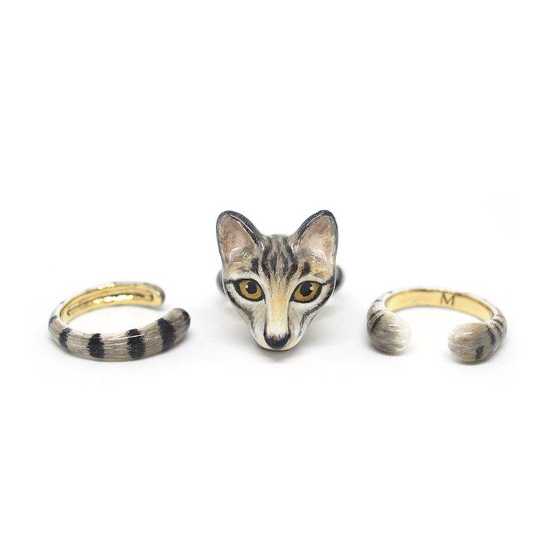 3件式貓戒指