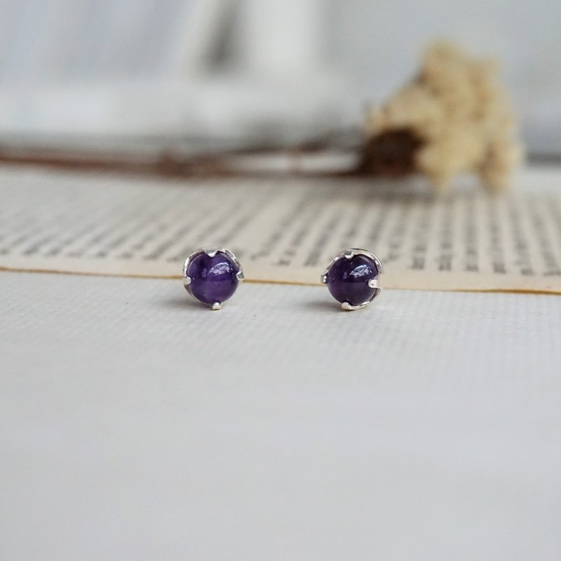 Lucky Guardian Stone-Amethyst Ear Pin Earrings - Wisdom Guardian Stone