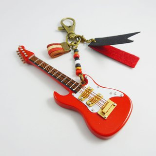 [Red electric guitar] electric guitar texture mini model hanging packaging accessories custom