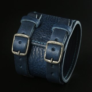HEYOU Handmade - Leather Cuff 皮革手環(藍)