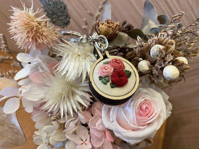 玫瑰花刺繡鑰匙圈 刺繡吊飾