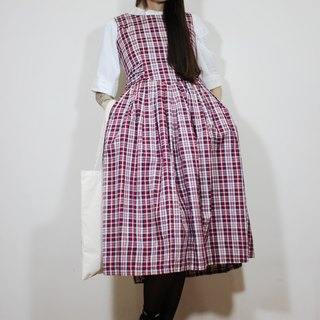 F2165 (Vintage) Red Plaid waistband cotton sleeveless vintage dress (wedding / picnic / party)