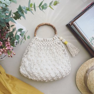 Macrame Knot Knit Mesh Bag Summer Net Bag Woven Bag with Drawstring Pocket