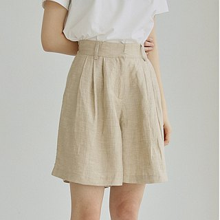 Beige high waist linen culottes shorts A word elastic waist hanging wide leg five points wide pants three colors