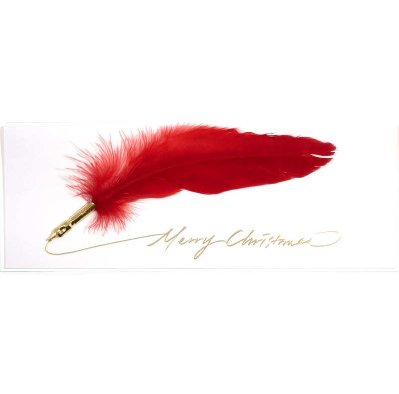 Feather pen handmade card Merry Xmas Merry Christmas