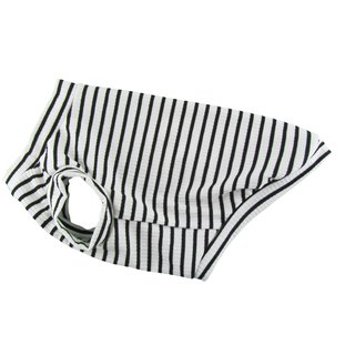 White & Black Stripe 4X2 Rib Knit Tank Top,Dog Apparel, Dog Fashion,