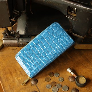 Japanese manufactured cowhide cartoon indigo color made in JAPAN handmade leather wallet