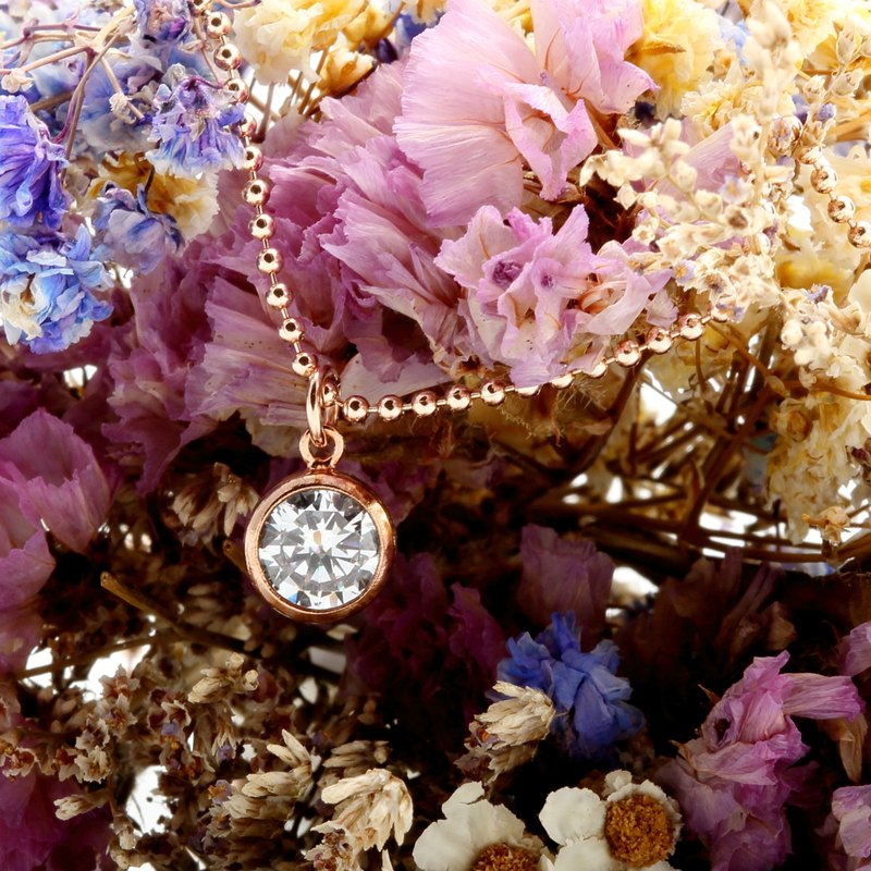 14KGF rose gold single Swiss diamond zircon cz necklace Valentine's Day gift