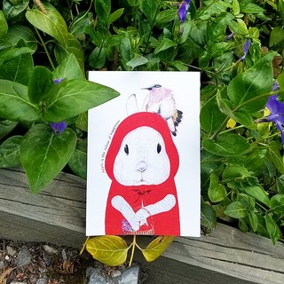 Postcard - Little Red Riding Hood and hummingbird