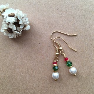 ~ M + bear ~ 'Merry Christmas' Simple earrings clip earrings SWAROVSKI / earring