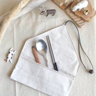 [Lover's New Year] weimoms micro awning fabric creation simple white - chopsticks sets, pencil case, environmental protection tableware bags, cloth rolls, Christmas gifts made in Taiwan - hand-made products
