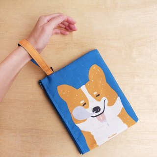 Corgi is taking a snooze canvas clutch bag