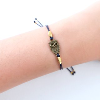 Owl navy blue string adjustable bracelet / Waterproof bracelet