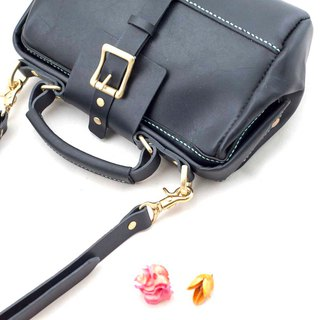Be Two ∣ black cylinder doctor gold bag / shoulder bag / side backpack / handbag (black leather)