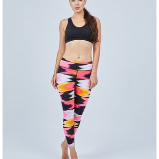 Aurora stretch tight yoga pants / colorful butterfly orange