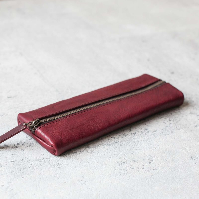 Burgundy classy leather pencil case