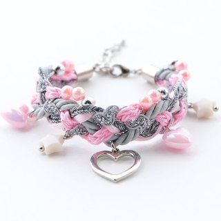 Pink gray braided bracelet with heart and pastel charms