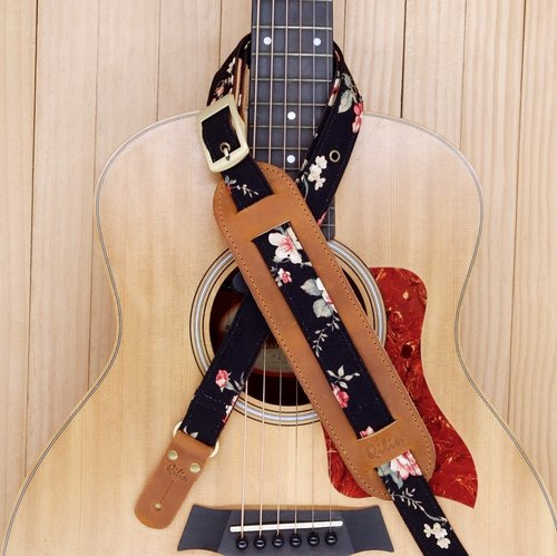 Black Flower Vintage Guitar Strap