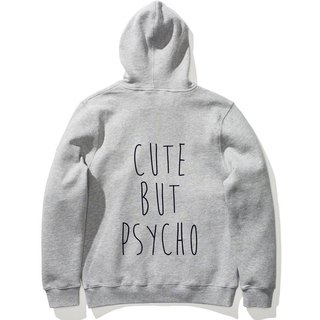 CUTE BUT PSYCHO long-sleeved bristles hooded T neutral version of the gray Wenqing art design trendy text fashion