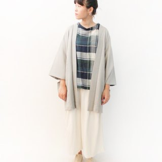 Vintage Japanese style and wind printing elegant gray ancient feather kimono jacket blouse cardigan kimono