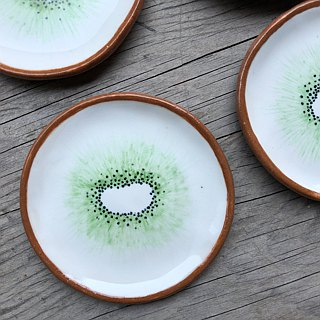 Kiwi profile hand - painted shallow dish