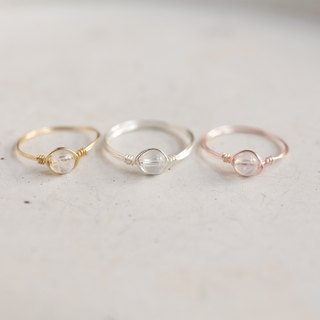 Ultra-small 4mm Moonstone copper tail ring group (a set of three: rose gold / gold / silver) Simple natural crystal offer Moon