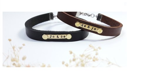 "Bracelet ◎**guest lettering**simple leather bracelet 【2 into the preferential group】 (black + brown) ""Valentine's Day / Christmas gift"" customization"