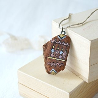 Upcycling Necklace, Natural, Wood piece, Free hand drawing, Zen drawing, Eco - Blue, Pink, Yellow