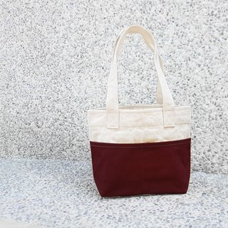 Thick Canvas Color Matching Double Pocket Handbag (Shoulder Bag / Tote Bag) - Dark Red