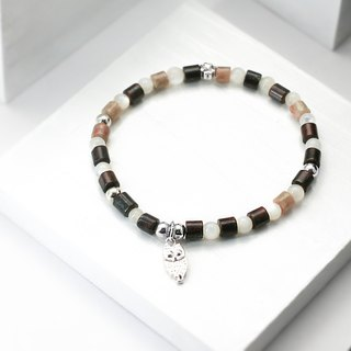 Brown owl natural stone silver bracelet │ brown ¿unicorn fashion sterling silver Tibetan silver gift birthday accessories flower