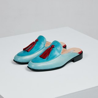 H THREE Fringe Loaf Slippers / Aqua Blue / Flat / tassel loafer slippers