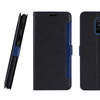 Samsung Galaxy A6+ Front Retractable Side Lift Leather Case - Black (4716779660029)