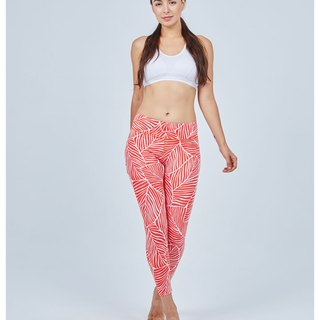 Aurora stretch tight yoga pants / orange white veins