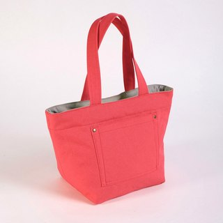 Outer Pocket Tote Bag - Coral Red